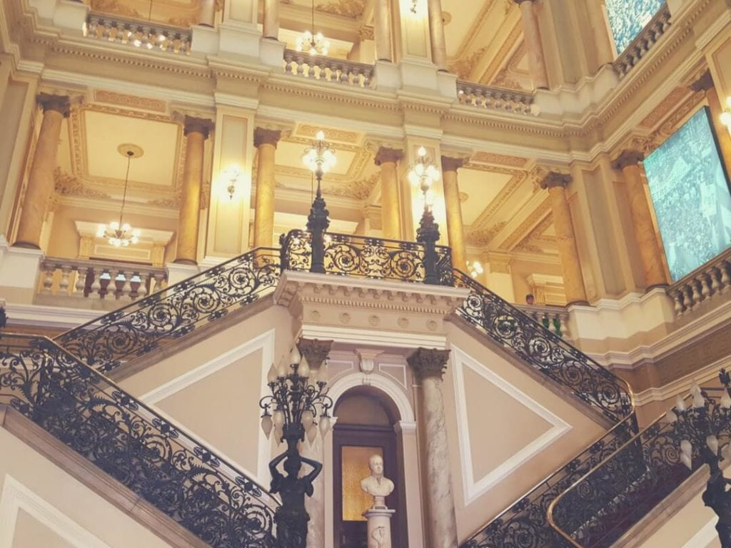 A photo of the classical interior of Biblioteca Nacional - a tour is one of interesting things to do in Rio de Janeiro