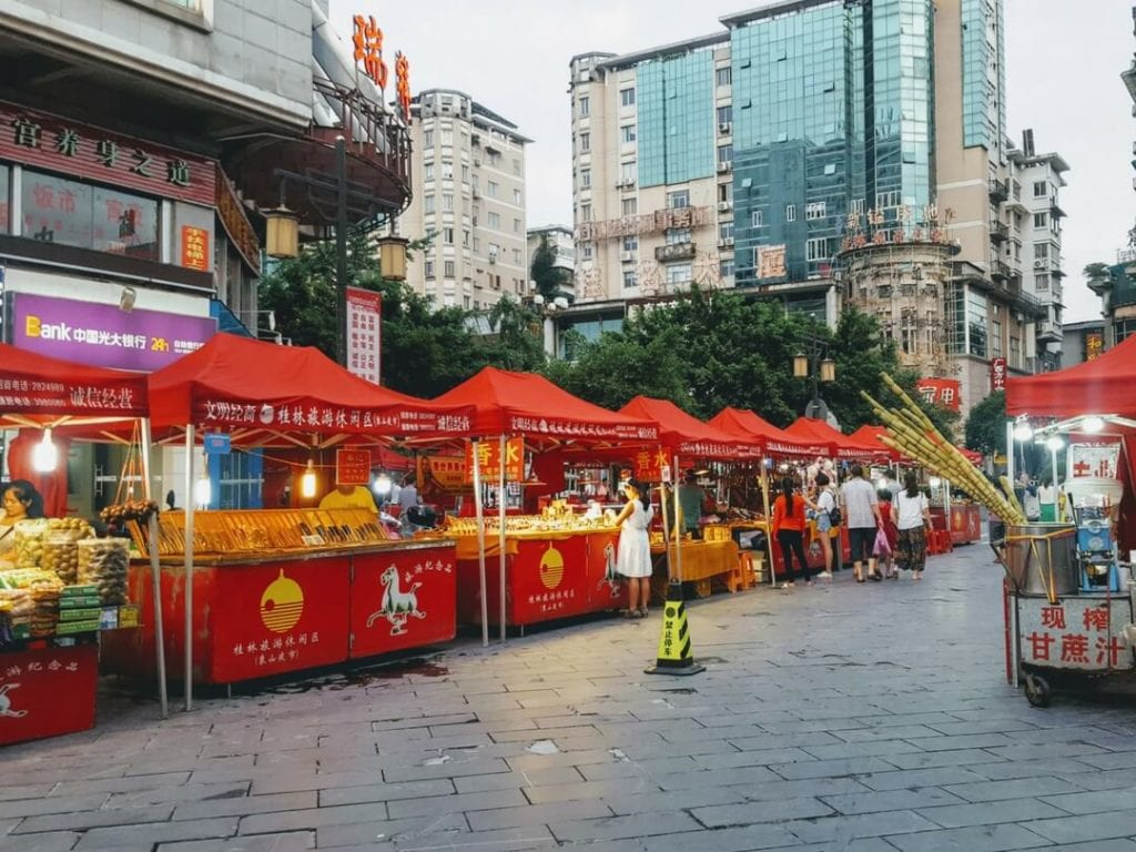 A photo of Guilin Night Market - one of the best things to do in Guilin, things to do in Guilin, food in Guilin, zhengyang pedestrian street, guilin nightlife, guilin xicheng pedestrian street