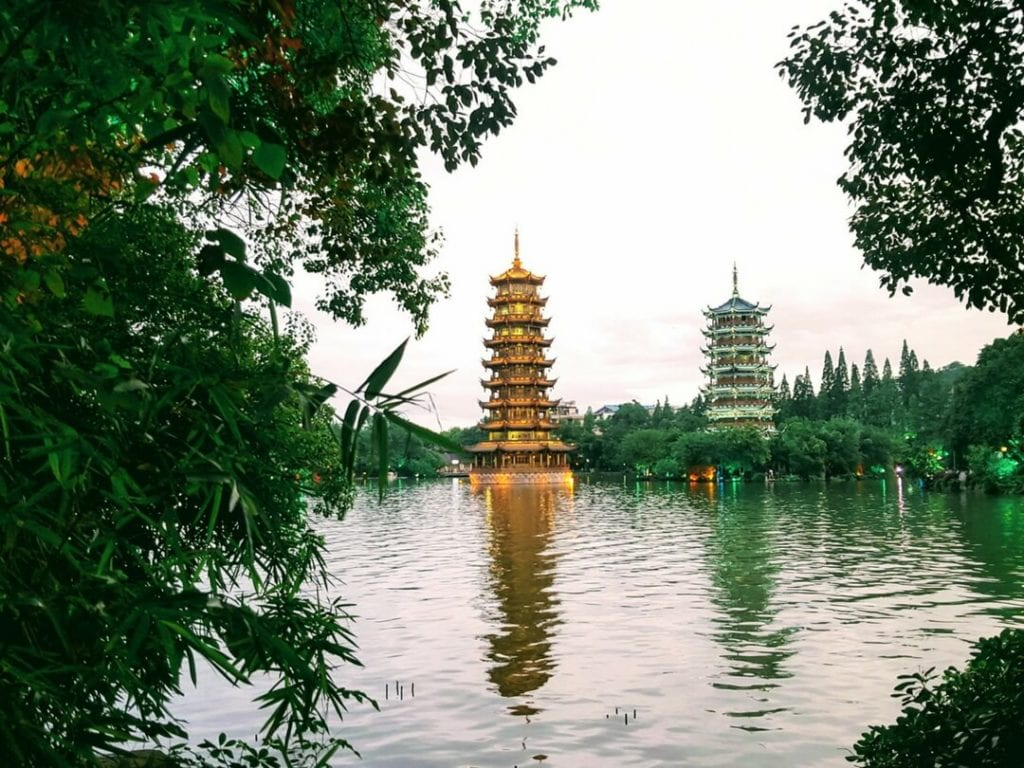 Sun & Moon Pagodas which is one of the things to do in Guilin, Guilin activities, guilin yangshuo, guilin china, guilin itinerary, things to do in guilin at night