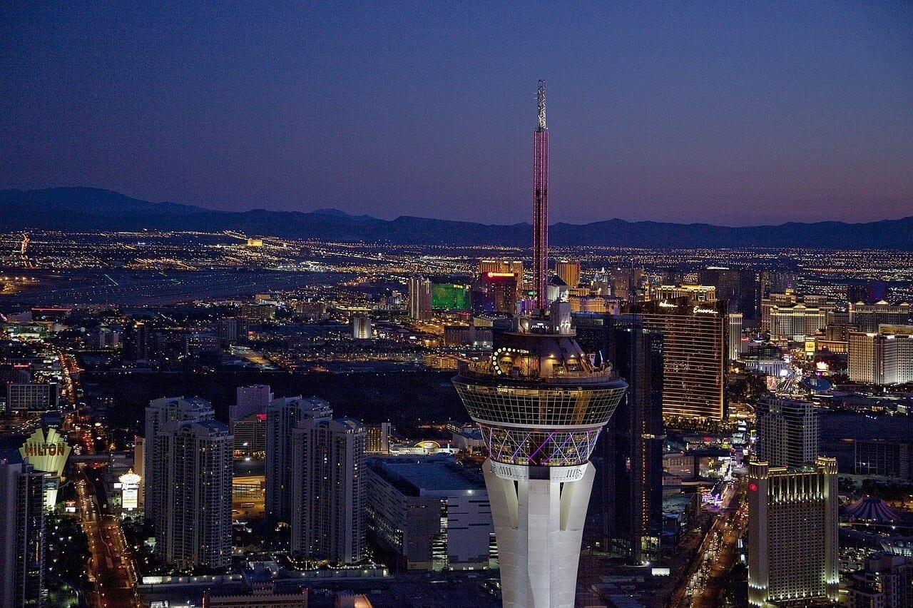 An image of the Stratosphere Hotel & Casino we recommend as cheap accommodation in Las Vegas