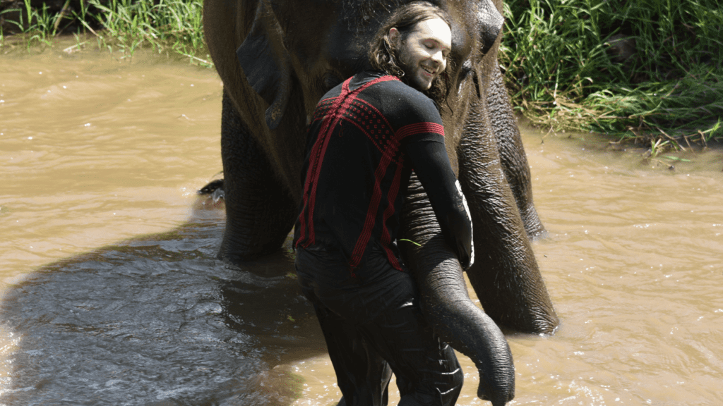 An-image-showing-a-man-playing-with-elephants-in-Rantong-the-best-elephant-sanctuary-in-Chiang-Mai
