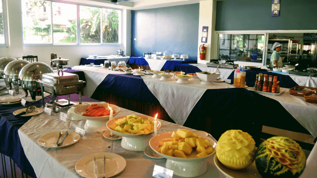 An-image-showing-the-extensive-buffet-breakfast-at-Silver-Naga-one-of-the-best-luxury-hotels-in-Vang-Vieng