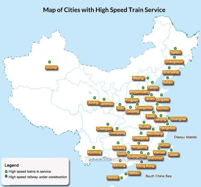 china bullet train map