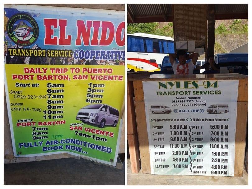 Puerto Princesa to El Nido minivan Schedule