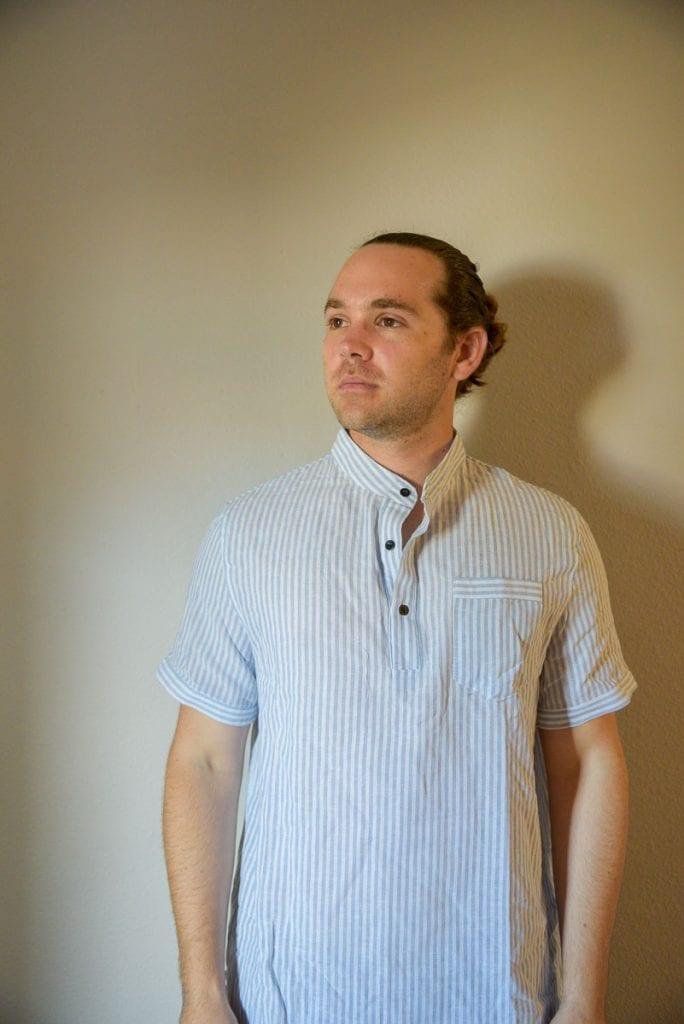 Men-Pocket-Patched-Button-Half-Placket-Striped-Blouse