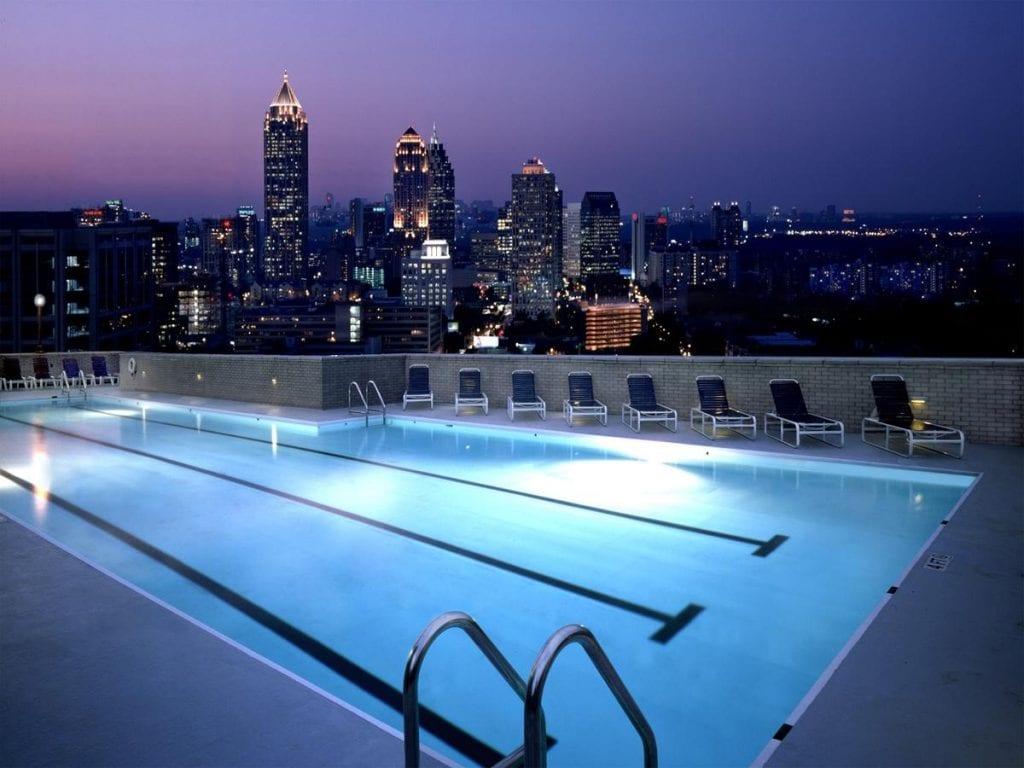 swimming pool at The Georgian Terrace with Atlanta view